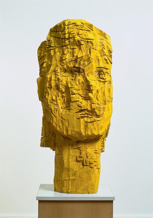 Georg Baselitz. <em>Woman of Dresden – Karla, </em>1990<em>.</em> Ash and tempera, 157 x 67.5 x 44 cm. Froehlich Collection, Stuttgart. Photo © Jochen Littkemann © Georg Baselitz